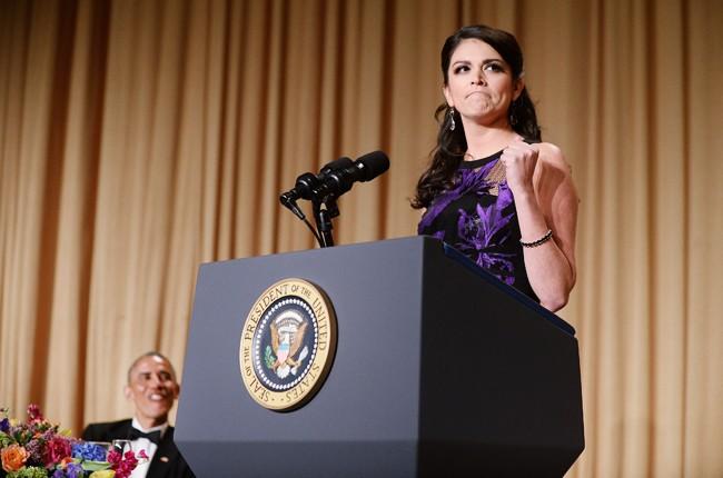 cecily strong brack obama  White House Correspondent dinner 2015 billboard 650
