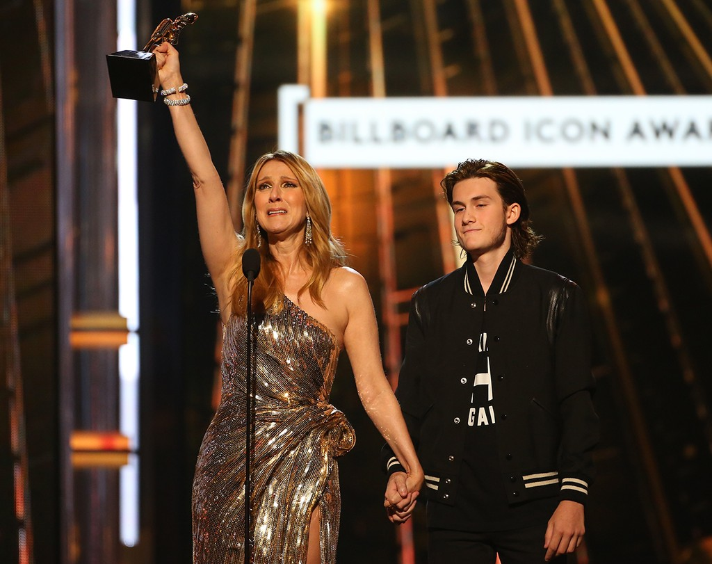Celine Dion and Rene Charles Angelil are seen on stage during the 2016 Billboard Music Awards held at the T-Mobile Arena on May 22, 2016 in Las Vegas.