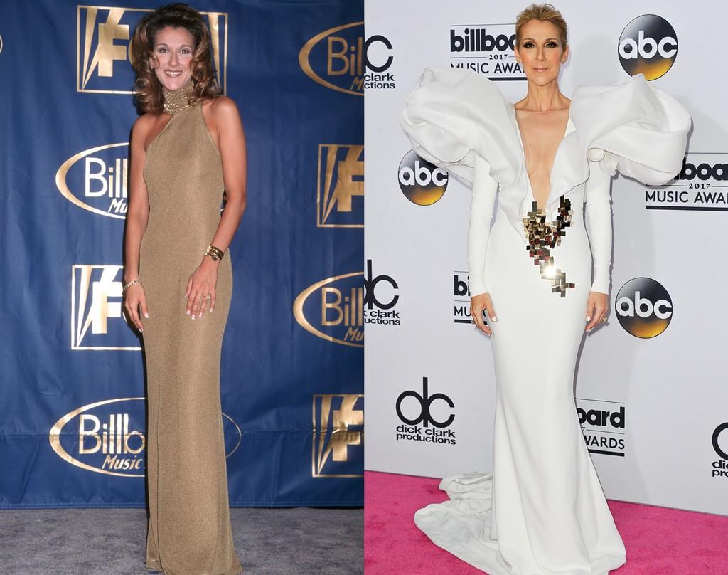 Celine Dion at the 1996 Billboard Music Awards (left); 2017 Billboard Music Awards (right)
