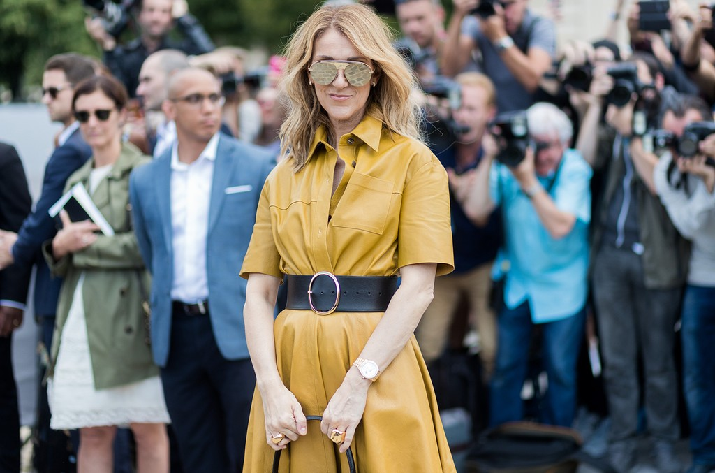 Celine Dion outside Dior during Paris Fashion Week - Haute Couture Fall/Winter 2017-2018 : Day Two on July 3, 2017 in Paris.