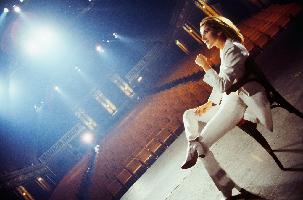 """Céline Dion during the filming of her music video """"All by Myself,"""" directed by Gérard Pullicino."""