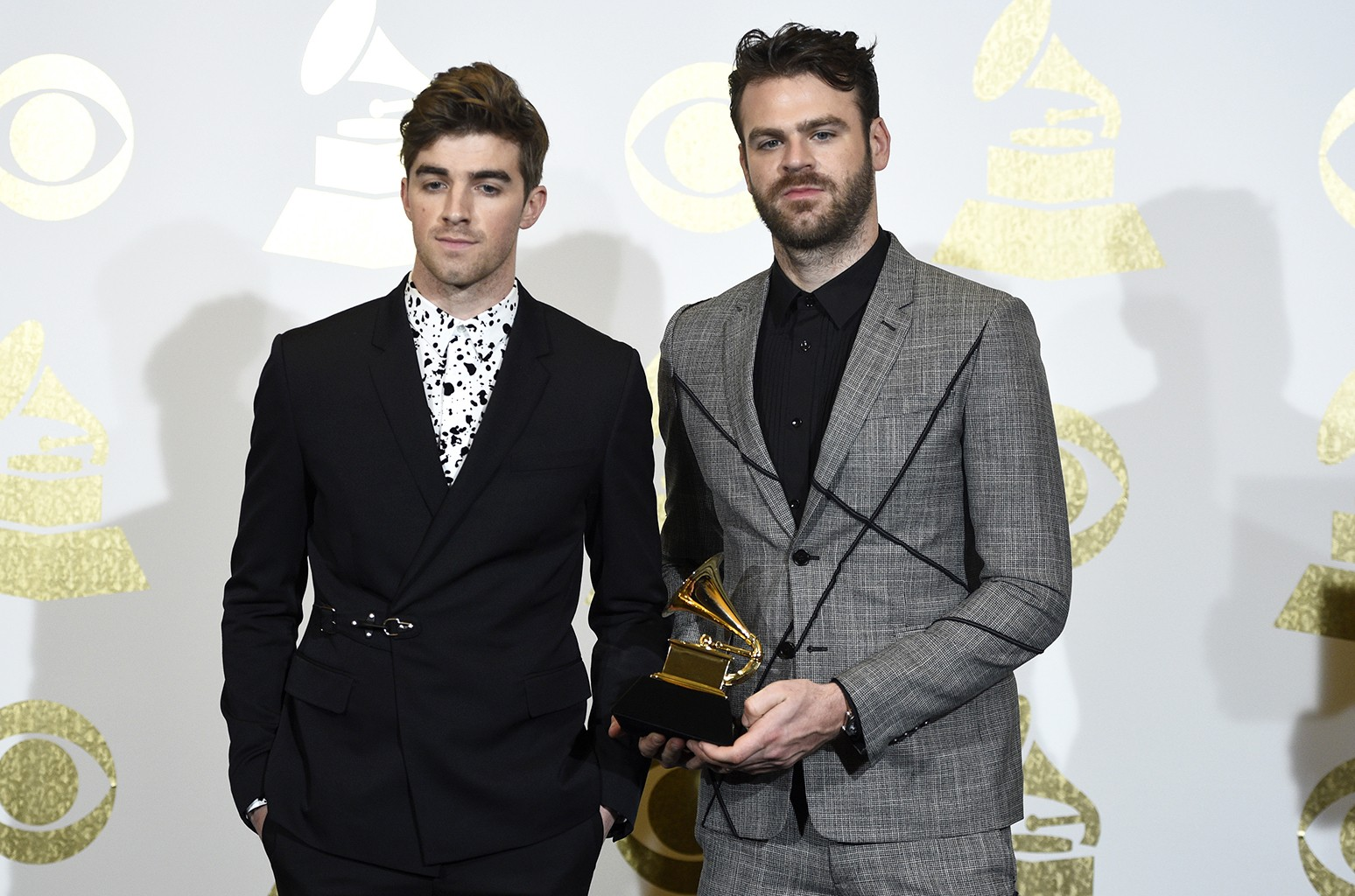 The Chainsmokers pose in the press room at the 59th annual Grammy Awards at the Staples Center on Feb. 12, 2017 in Los Angeles.