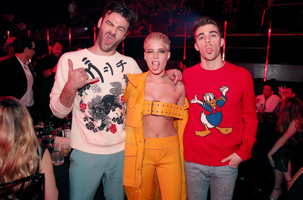 Halsey poses with recording artists Alex Pall and Andrew Taggart of The Chainsmokers during the 2017 iHeartRadio Music Awards which broadcast live on Turner's TBS, TNT, and truTV at The Forum on March 5, 2017 in Inglewood, Calif.