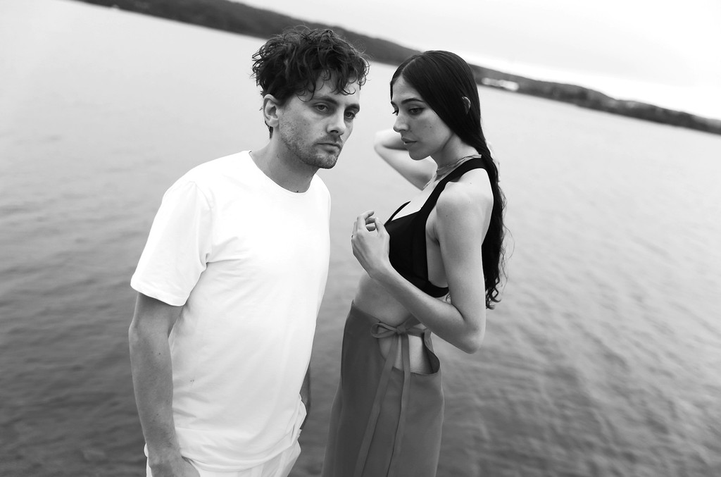 Patrick Wimberly and Caroline Polachek of Chairlift photographed at the Surf Lodge in New York on Aug. 21 2016.