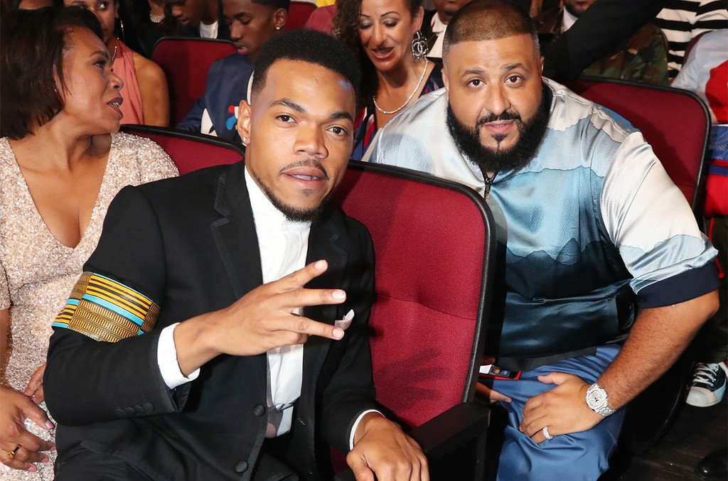 Chance the Rapper and DJ Khaled in the audience at 2017 BET Awards at Microsoft Theater on June 25, 2017 in Los Angeles.
