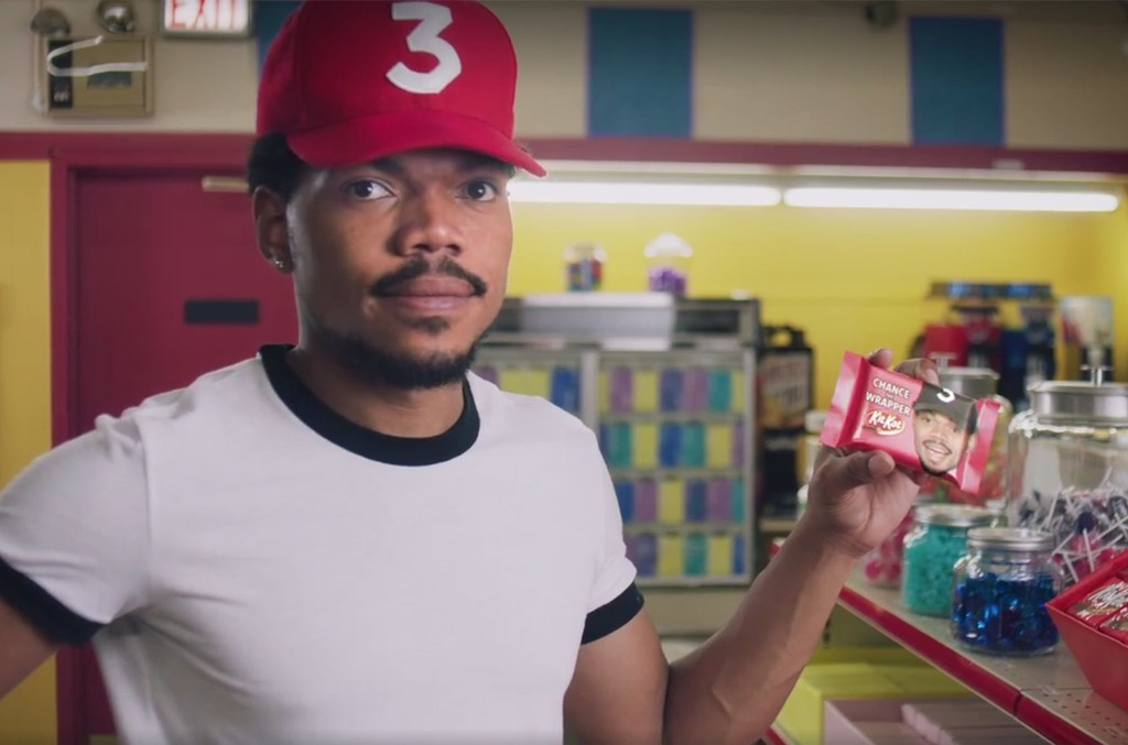 Chance the Rapper in a commercial for KitKat.
