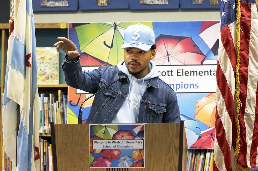 Chance The Rapper holds a press conference and donates $1 Million Dollars to the Chicago Public School Foundation at Westcott Elementary School on March 6, 2017 in Chicago.