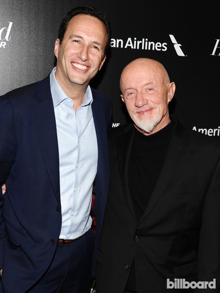 Charlie Collier, president and general manager of AMC, left, and Jonathan Banks attend The 35 Most Powerful People in Media hosted by The Hollywood Reporter
