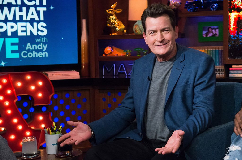 Charlie Sheen on Watch What Happens Live with Andy Cohen.