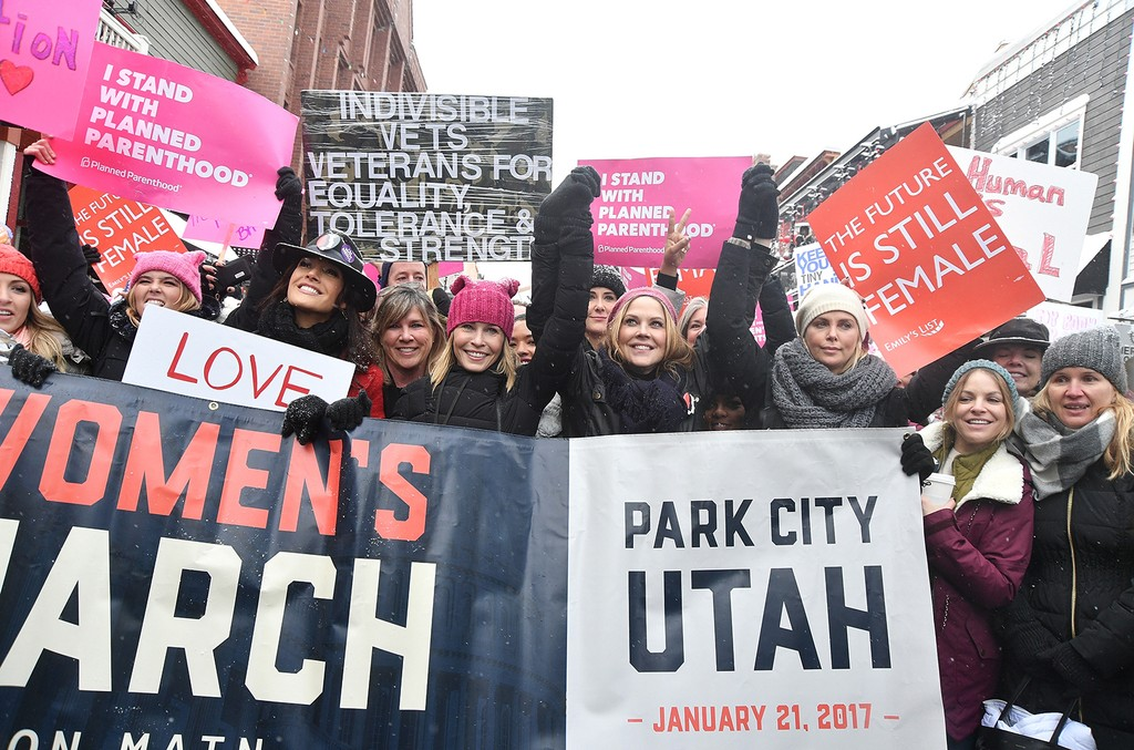 Jennifer Beals, Chelsea Handler, Mary McCormack and Charlize Theron participates in the Women's March on Main Street Park City on January 21, 2017 in Park City, Utah.