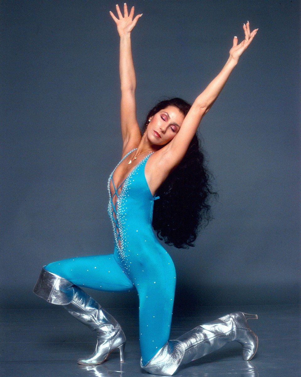 Cher poses for a Fashion Session in a Bob Mackie Creation on April 9, 1978 in Los Angeles.