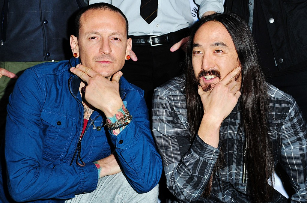Chester Bennington and Steve Aoki at L.A. River Studios on Nov. 14, 2015 in Los Angeles.