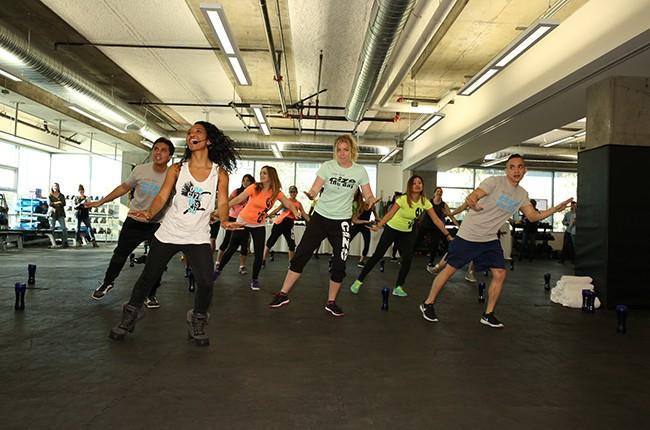 Chilli leads a CIZE dance workout in Santa Monica, Calif.
