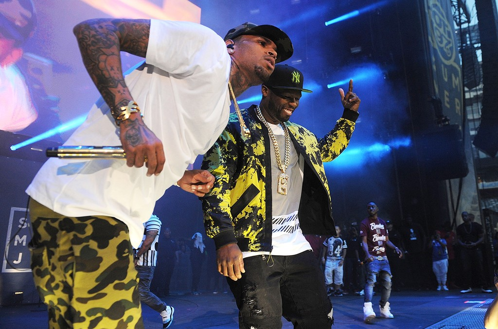 Chris Brown and 50 Cent perform at MetLife Stadium on June 7, 2015 in East Rutherford, N.J.  Jersey.