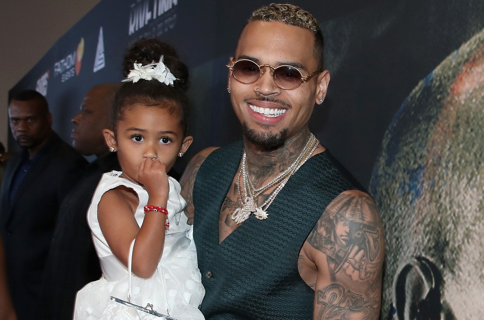 """Chris Brown and his daughter Royalty attend the Premiere Of Riveting Entertainment's """"Chris Brown: Welcome To My Life"""" at L.A. LIVE on June 6, 2017 in Los Angeles."""