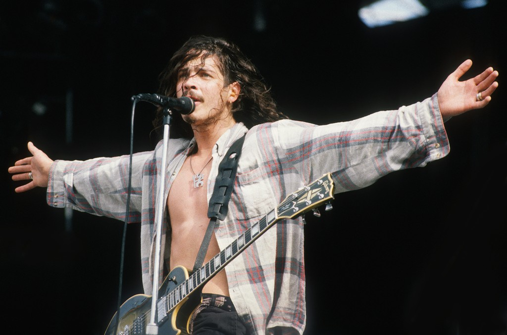 Chris Cornell of Soundgarden onstage at Feyenoord Stadion in Rotterdam on June 23, 1992.