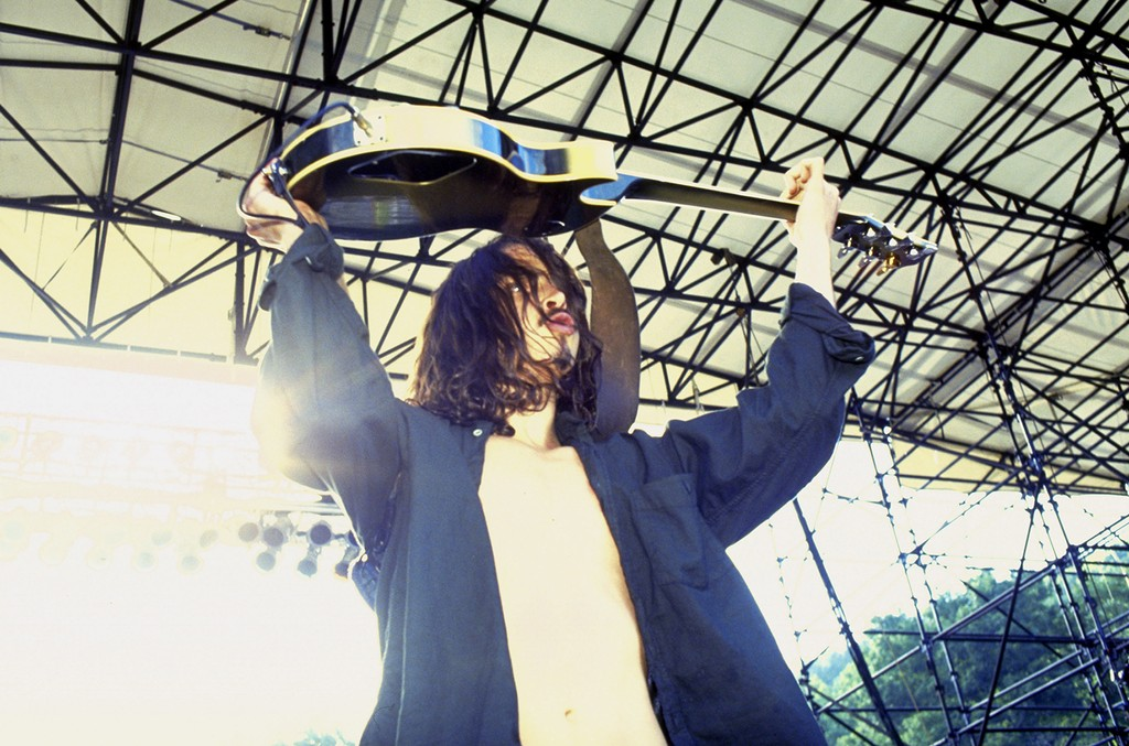 Chris Cornell of Soundgarden performs at Lollapalooza in 1992.