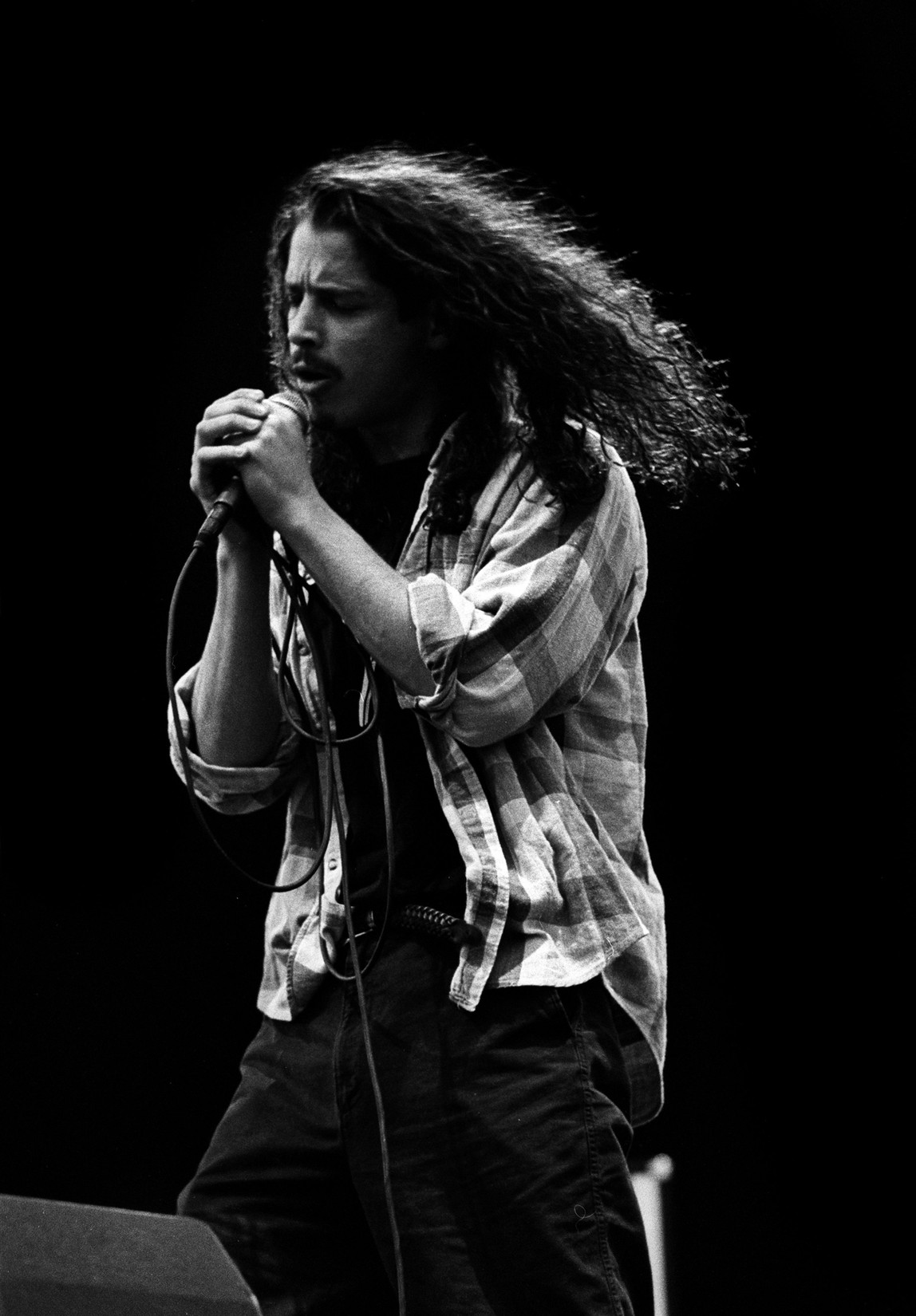 Chris Cornell of Soundgarden performs live on stage at Pinkpop festival in Landgraaf, Netherlands on June 8, 1992.