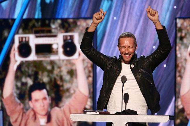 Chris Martin at the 2014 Rock And Roll Hall Of Fame Induction Ceremony