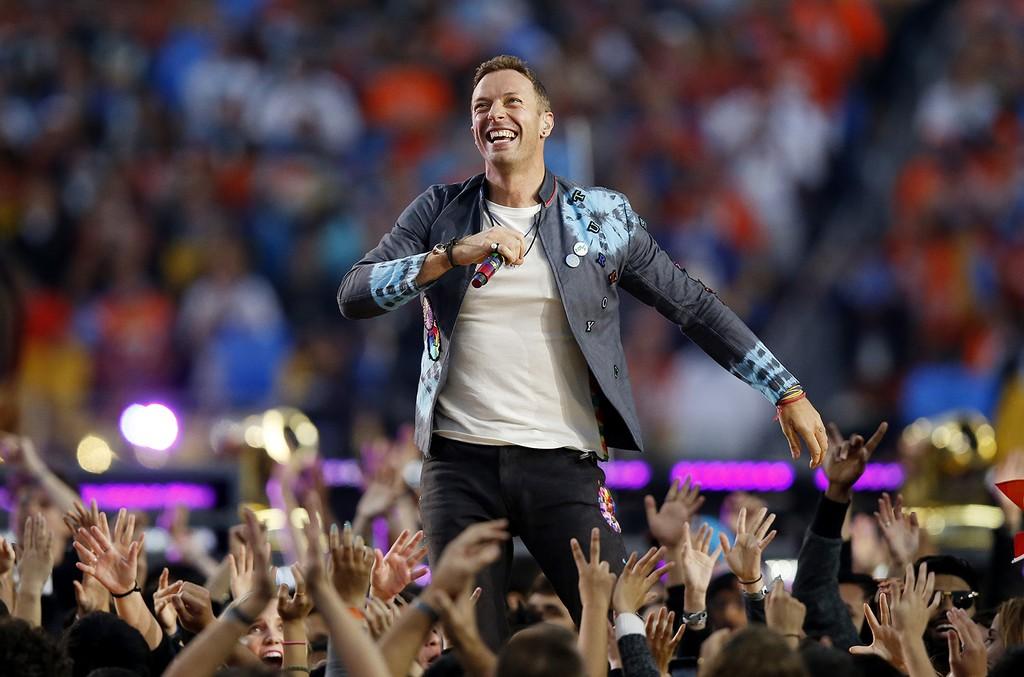 Chris Martin of Coldplay performs during the Pepsi Super Bowl 50 Halftime Show at Levi's Stadium on Feb. 7, 2016 in Santa Clara, Calif.