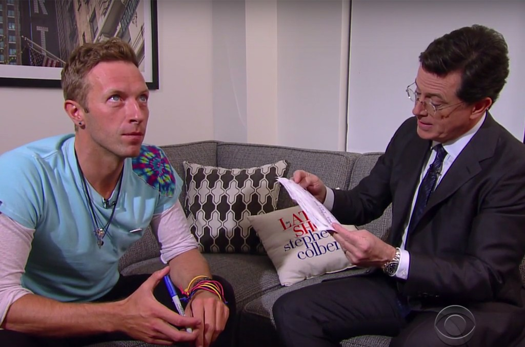 Chris Martin and Stephen Colbert on The Late Show with Stephen Colbert.