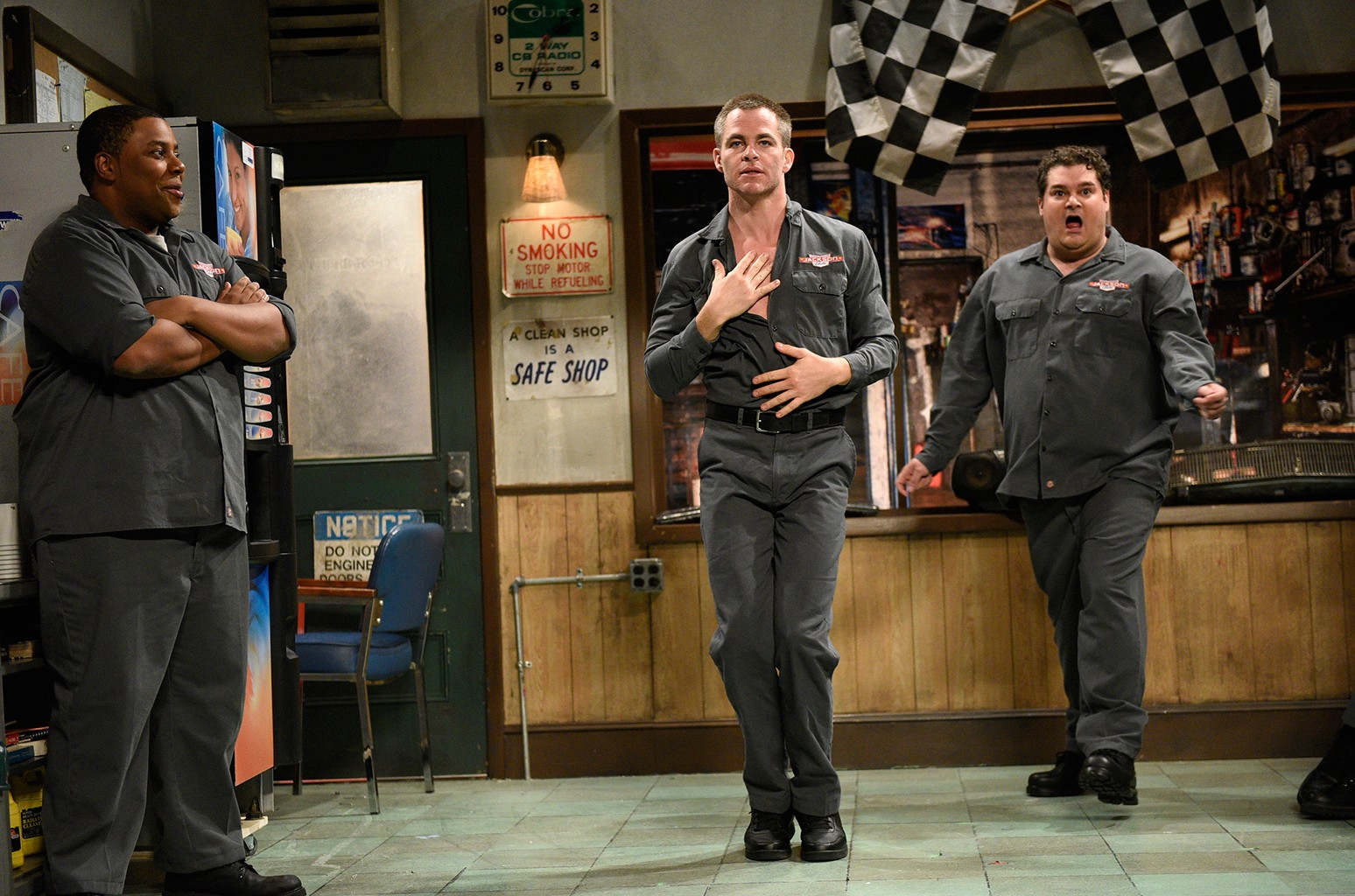 "(l-r) Kenan Thompson, Chris Pine and Bobby Moynihan as car mechanics during ""Auto Shop"" sketch in studio 8H on 'Saturday Night Live' on May 6, 2017."