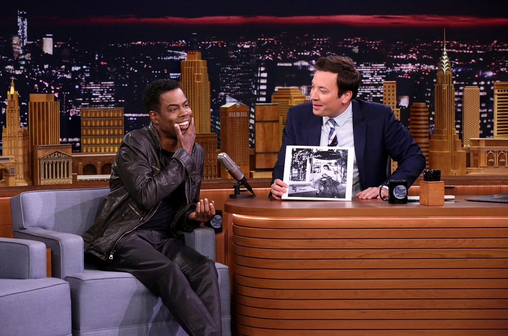 "Comedian Chris Rock with host Jimmy Fallon during ""Do Not Play"" on 'The Tonight Show Starring Jimmy Fallon' on May 2, 2017."