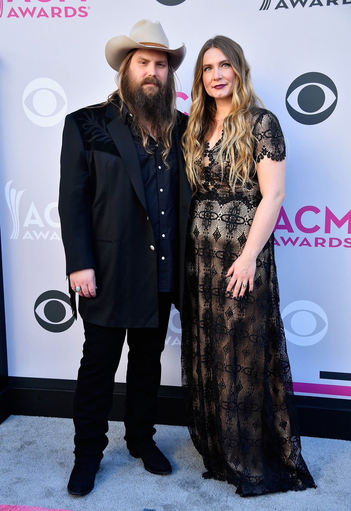 Chris Stapleton and Morgane Stapleton attend the 52nd Academy Of Country Music Awards at Toshiba Plaza on April 2, 2017 in Las Vegas.