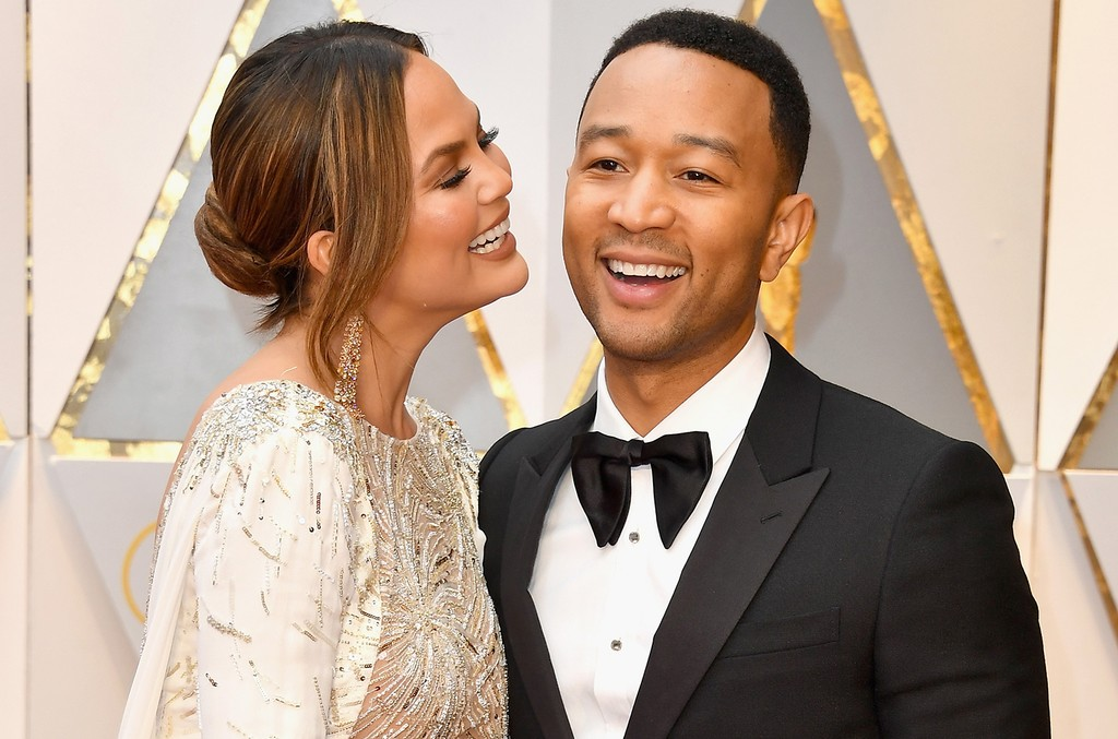 Chrissy Teigen and John Legend attend the 89th Annual Academy Awards at Hollywood & Highland Center on Feb. 26, 2017 in Hollywood, Calif.