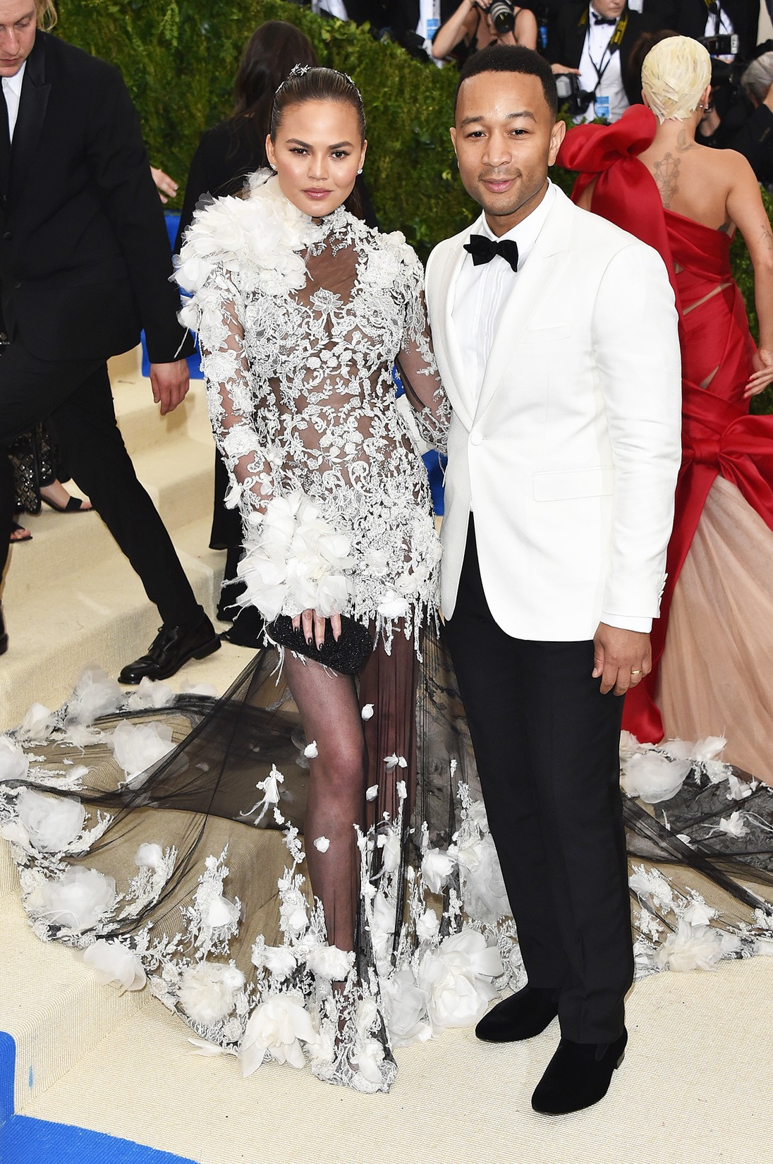 "Chrissy Teigen and John Legend attend the ""Rei Kawakubo/Comme des Garcons: Art Of The In-Between"" Costume Institute Gala at Metropolitan Museum of Art on May 1, 2017 in New York City."