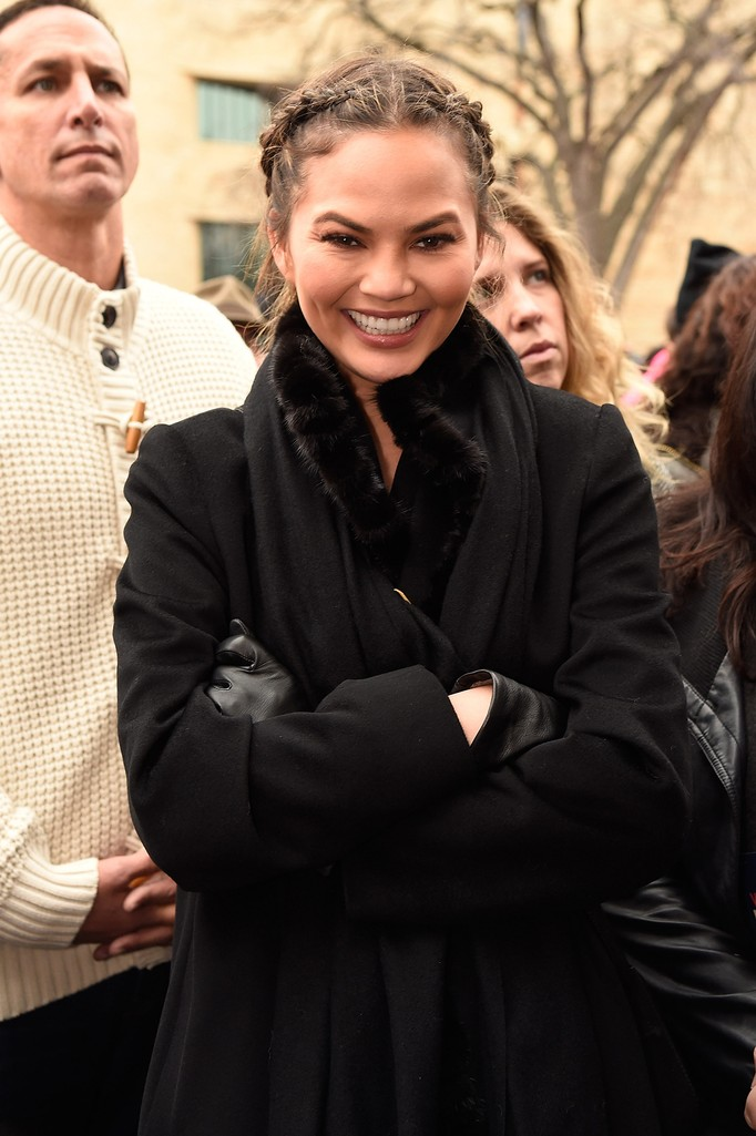 Chrissy Teigen attends the rally at the Women's March on Washington on January 21, 2017 in Washington, DC.  (Photo by Kevin Mazur/WireImage)