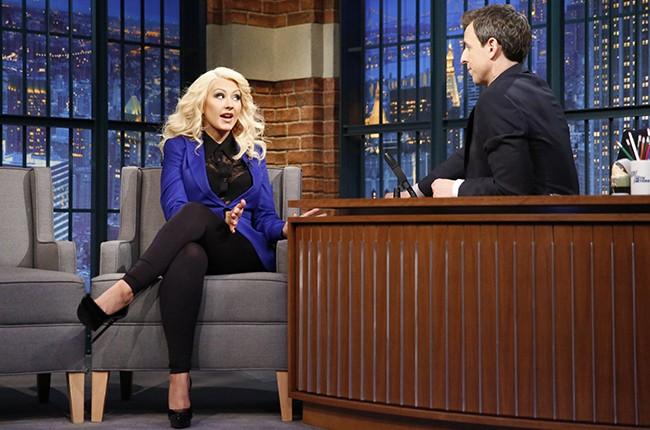 Christina Aguilera on Late Night with Seth Meyers 2015