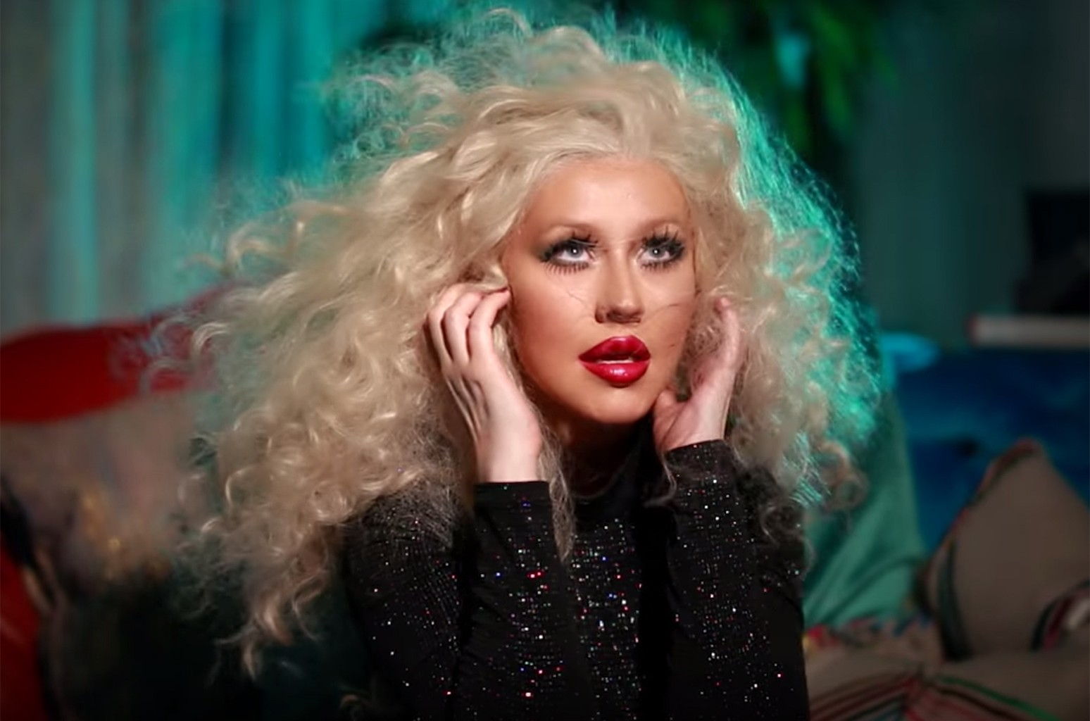 """Christina Aguilera in the video for """"Telepathy"""""""