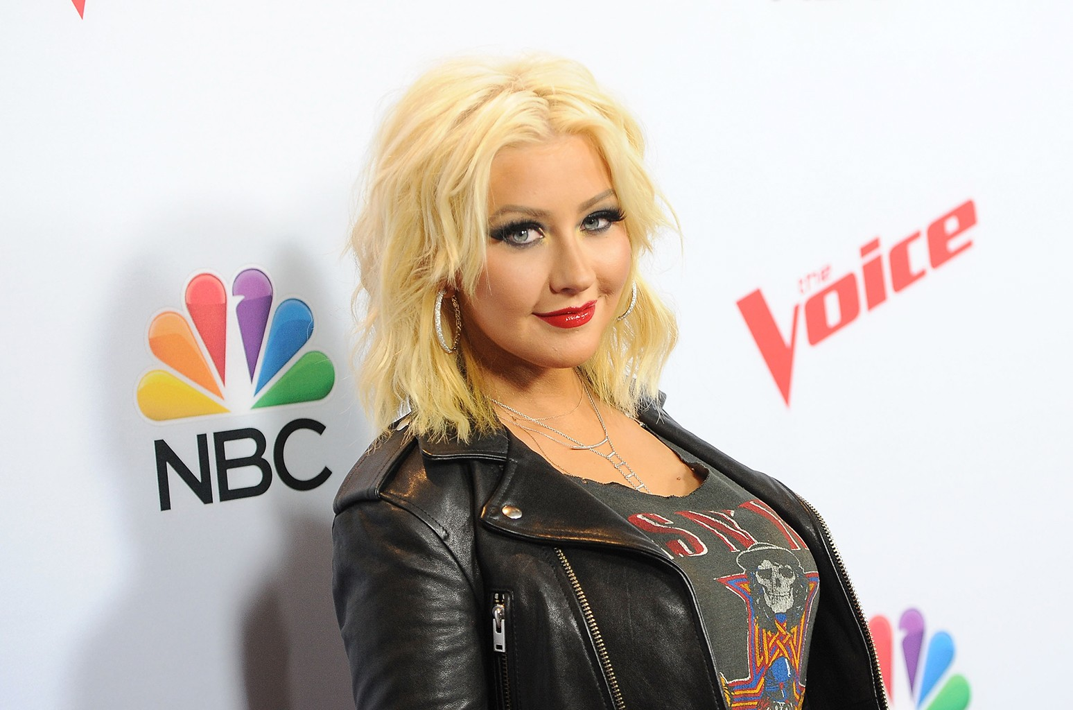 Christina Aguilera arrives at NBC's The Voice red carpet