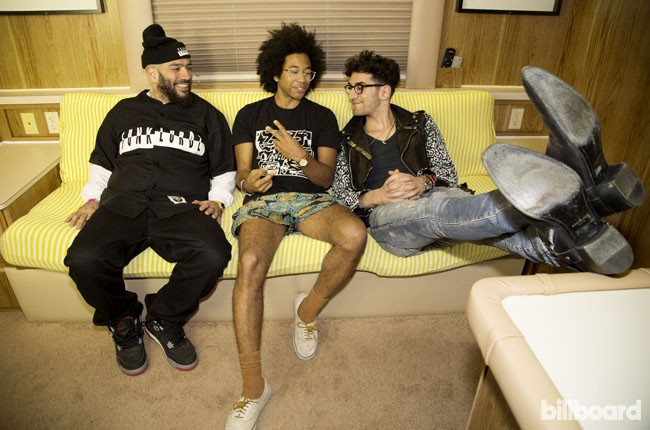 Chromeo and Toro y Moi chill out in their trailer during Coachella