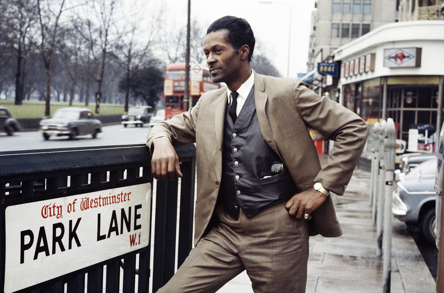 Chuck Berry poses on Park Lane in London in 1965.