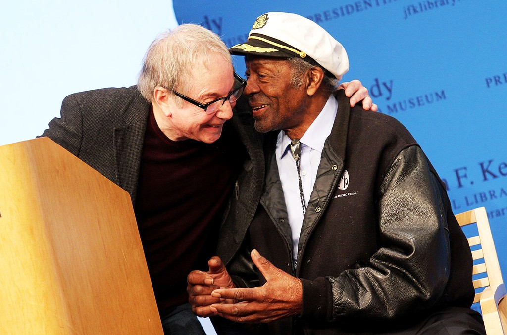 Paul Simon and Chuck Berry during the 2012 Awards for Lyrics of Literary Excellence at The John F. Kennedy Presidential Library And Museum on Feb. 26, 2012 in Boston.