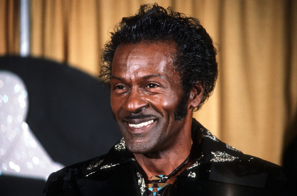 Chuck Berry is shown at the annual Grammy Awards in Los Angeles on Feb. 28, 1984.