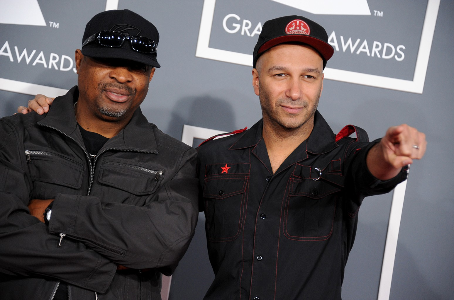 Chuck D and Tom Morello arrive at the 55th annual Grammy Awards