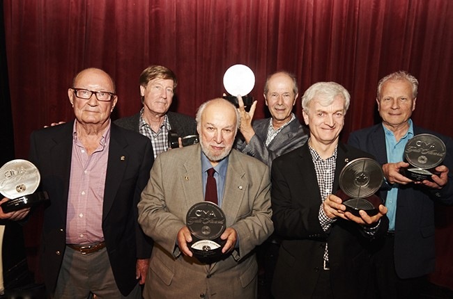 Allan MacMillan, Bernie Finkelstein, Frank Davies, Terry Brown, Greg Hambleton and Tommy Graham at the 2015 CIMA Gala.