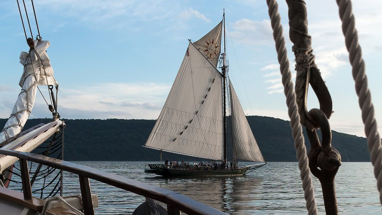 <p>The Hudson River sloop Clearwater seen from the bow of its sister boat, the Mystic Whaler.</p>