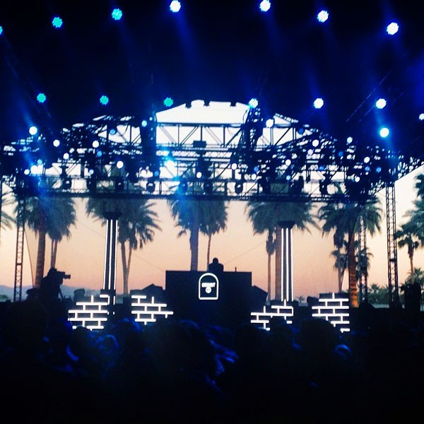 View of the stage during sunset at Coachella 2014