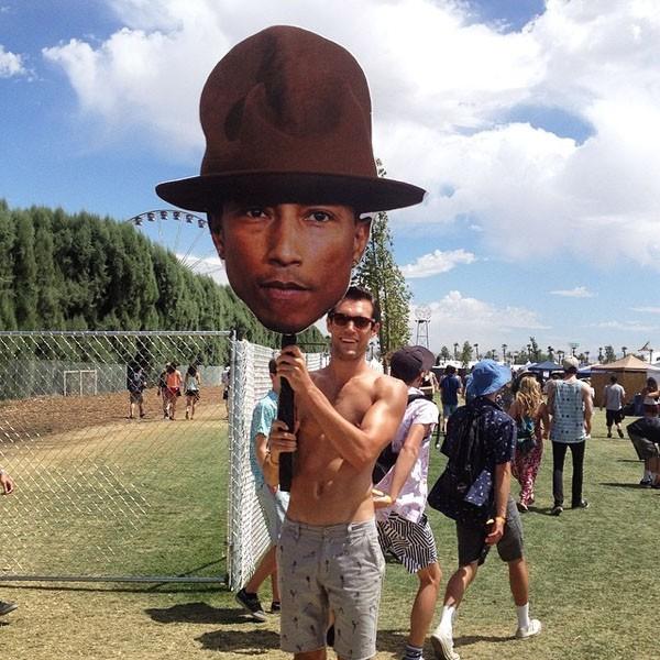 Fan with Pharrell head at Coachella 2014