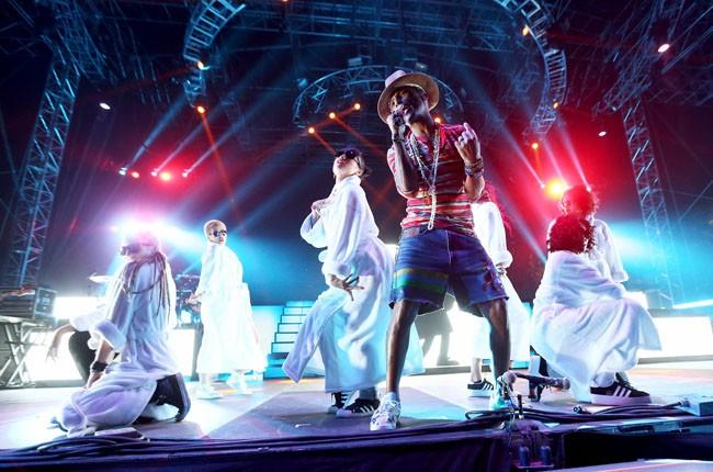 Pharrell on stage at Coachella 2014
