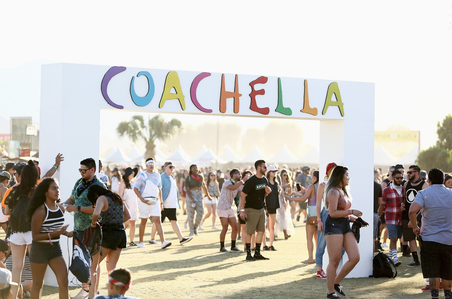 Festivalgoers attend day 2 of the 2017 Coachella Valley Music & Arts Festival (Weekend 2) at the Empire Polo Club on April 22, 2017 in Indio, Calif.