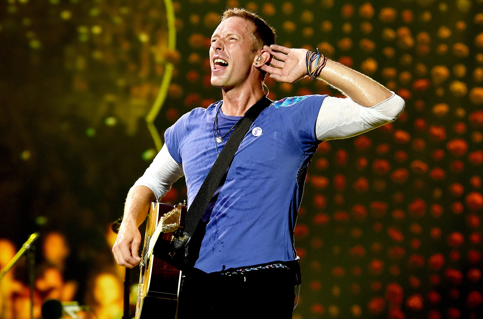 Chris Martin of Coldplay performs at the Rose Bowl