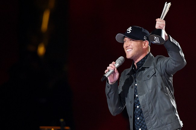 Cole Swindell accepts the award for New Artist of the Year onstage during the 50th Academy Of Country Music Awards