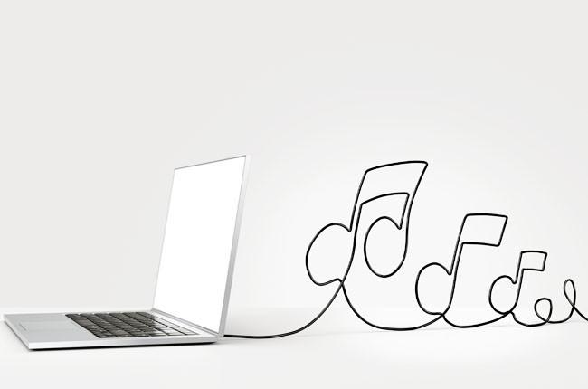 laptop, music