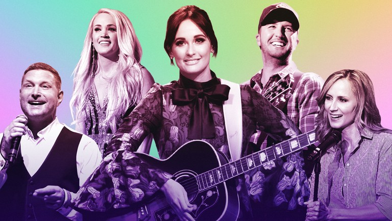 <p>(L-R) Ty Herndon, Carrie Underwood, Kacey Musgraves, Luke Bryan and Chely Wright</p>