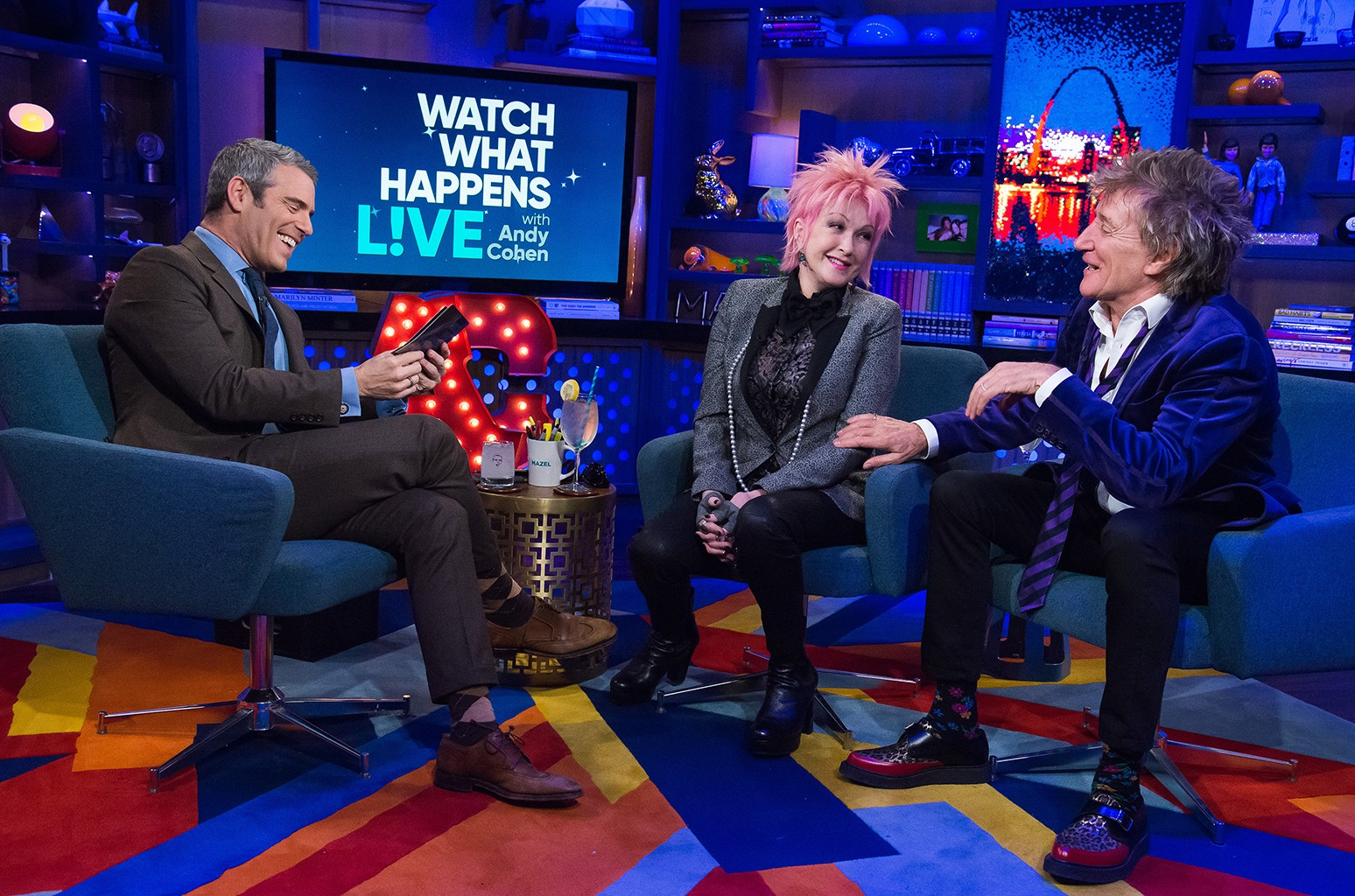 Andy Cohen, Cyndi Lauper and Rod Stewart on Watch What Happens Live.